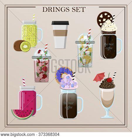 Set Of Different Delicious Vector Drinks Cocktails, Coffee, Smoothies, Tea, Milkshake, Lemonade, Ice