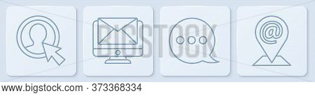 Set Line Create Account Screen, Speech Bubble Chat, Monitor And Envelope And Location And Mail And E