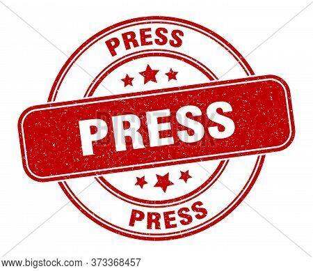Press Stamp. Press Label. Round Grunge Sign