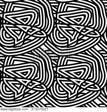 Seamless Striped Abstract Pattern. Black And White Tangled Lines. Messy Stripes. Monochrome Knot, Cl