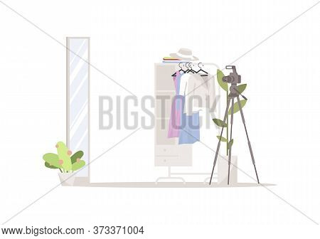 Fashion Blog Semi Flat Rgb Color Vector Illustration. Camera, Fashionable Clothing And Mirror Isolat