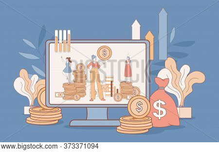 Women Making Investing Plan And Analyzing Economic Situation Vector Cartoon Outline Illustration. Co