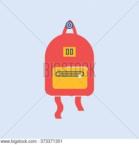 School Rucksack Semi Flat Rgb Color Vector Illustration. Red And Yellow Knapsack For Schoolchildren,