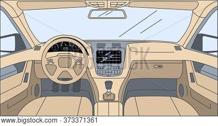 Design Inside The Car Vector Cartoon Outline Illustration. Driver View With Navigator, Rudder, Dashb