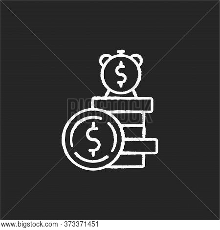 Deposit Chalk White Icon On Black Background. Financial Asset. Income From Business. Monetary Gain D