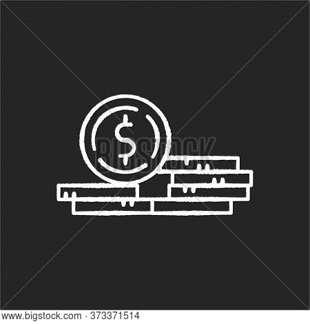 Stack Of Coins Chalk White Icon On Black Background. Fortune And Wealth. Growth In Wage. Revenue Fro