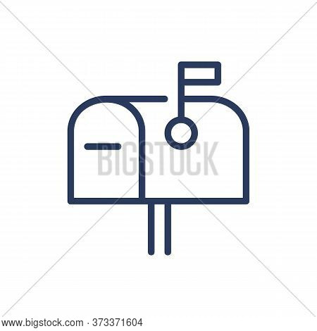 Mail Box Thin Line Icon. Mailbox, Flag, Correspondence Isolated Outline Sign. Message, Communication