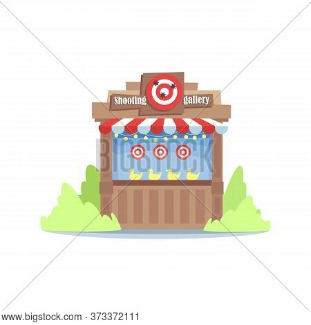 Shooting Gallery Semi Flat Rgb Color Vector Illustration. Funfair Entertainment Stand Isolated Carto