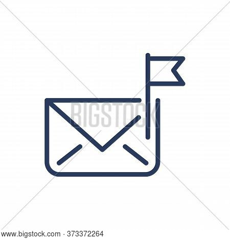 Closed Envelope Thin Line Icon. Flag, Important, Correspondence Isolated Outline Sign. Message, Comm