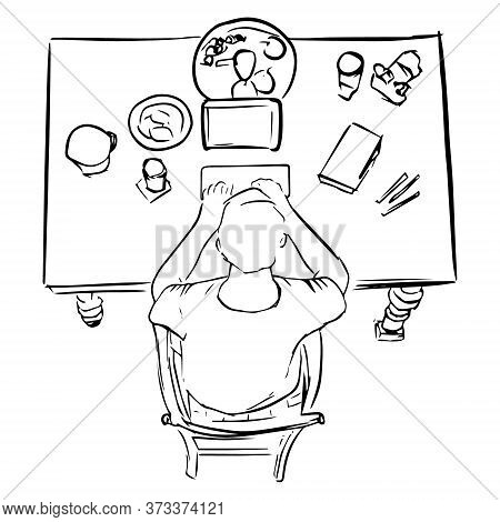 Sketch Of Man Work On Computer. View From Above. Vector Illustration
