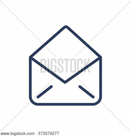 Open Empty Envelope Thin Line Icon. Packet, Postage, Correspondence Isolated Outline Sign. Message,