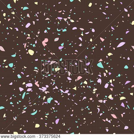 Terrazzo Seamless Pattern. Stone Texture Mosaic Vector Background. Floor, Countertop Or Worktop Surf