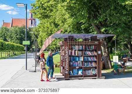 Vilnius, Lithuania - June 25 2020: Open Summer Library, Public Bookshelf In The City Provides Cultur