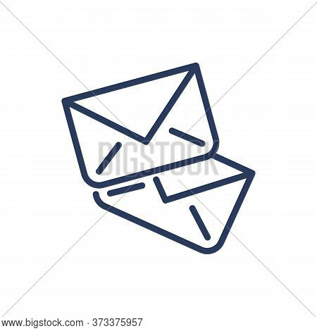 Mail Thin Line Icon. Close Envelopes, Messages, Correspondence Isolated Outline Sign. Messenger, Com
