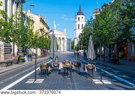 Vilnius, Lithuania - June 25 2020: Outdoor Bar And Restaurant, Vilnius, Lithuania, Europe, Open-air