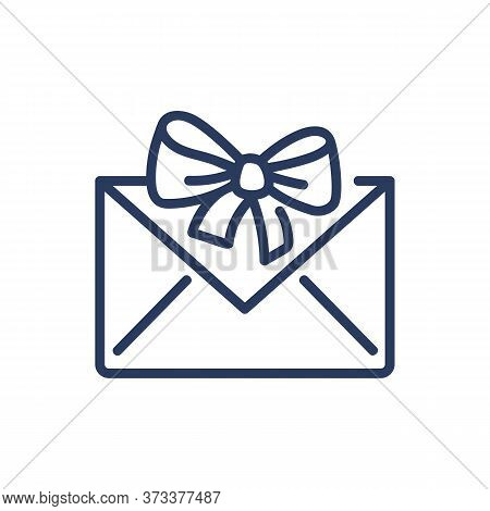 Envelope With Gift Ribbon Thin Line Icon. Greeting Card, Mail, Newsletter Isolated Outline Sign. Sur