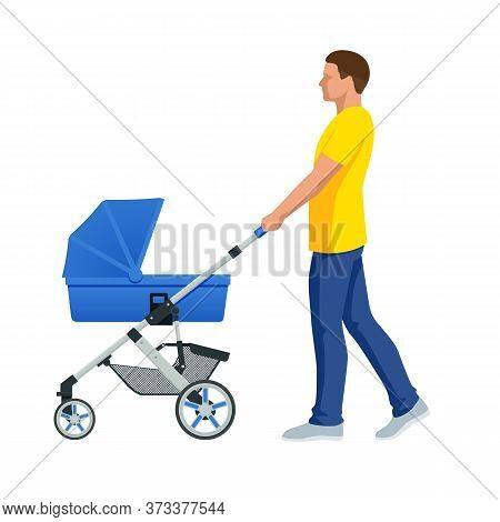 Baby Carriage Isolated On A White Background. Kids Transport. Strollers For Baby Boys Or Baby Girls.
