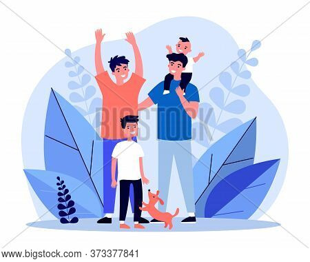 Happy Homosexual Couple With Children And Pet. Gay Parents, Family, Happiness Flat Vector Illustrati