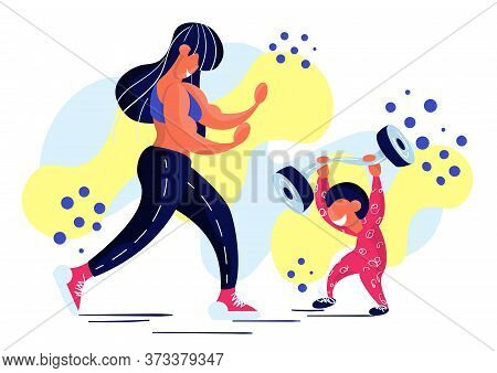 Stock Vector Illustration Of Fitness Girl With Her Baby. Stay Home, Keep Fit. Muscle Mom Doing Sport