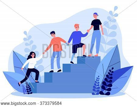 Disabled People Helping To Each Other. Handicapped Men And Women Holding Hands And Climbing Upstairs