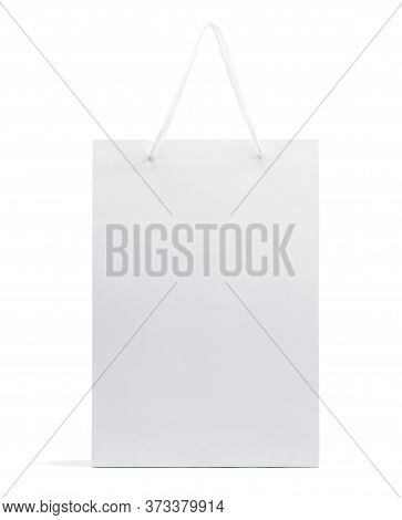 White Paper Bag Isolated On White Background With Clipping Path,shopping