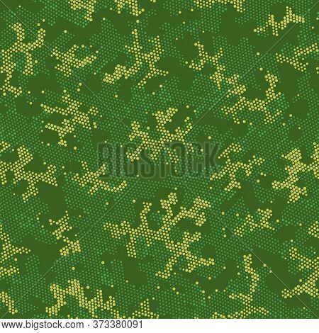 Seamless Vector Patterd Design.  Repeated Vector Green Spots, Camo Camouflage. Beige Seamless Doted