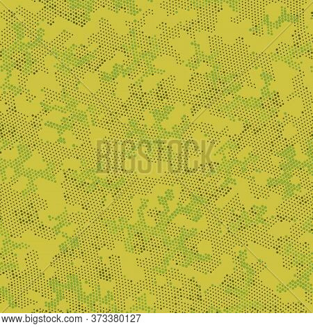 Green Seamless Army Camouflage, Vector Art.  Repeated Graphic Beige Modern, Camo Print. Khaki Repeat