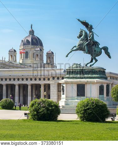 Statue Of Archduke Charles On Heldenplatz Square With Museums Of Art History And Natural History At