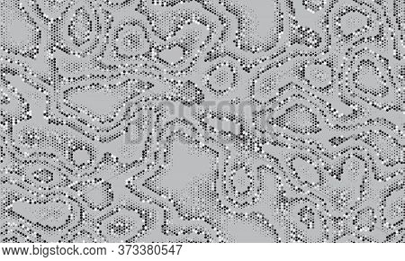 Seamless Silver Sequins Background. Military White Camouflage. Abstract Seamless Fashion Pattern. Ve