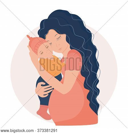Pregnant Woman Is Holding A Sleeping Baby. Motherhood. Stock Vector Illustration