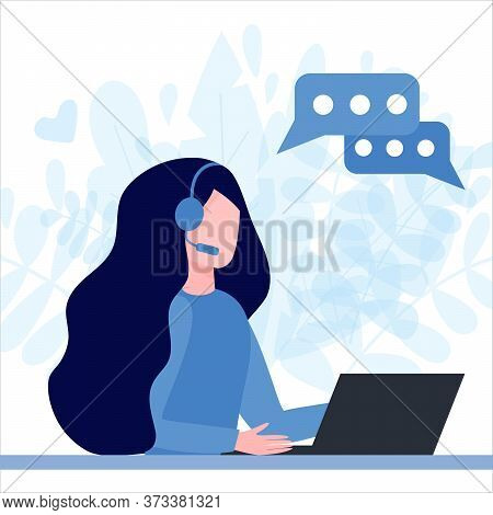 Woman Operator In Headphones With Laptop. Concept Of Customer Service, Call Center, Hotline Operator