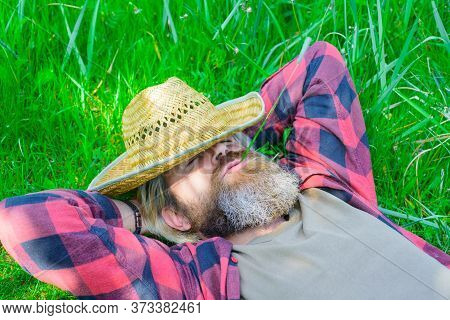 Enjoying Sunny Day. Unity With Nature. Bearded Man Lying On Grass. Happy Man Relaxing On Green Grass