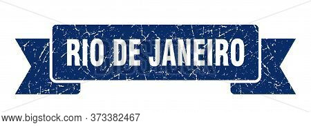 Rio De Janeiro Ribbon. Blue Rio De Janeiro Grunge Band Sign