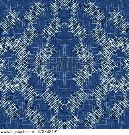 Cloud Cross Decoration Vector Seamless Pattern. Cyan Flannel Grid Illustration. Graphic Line Wallpap