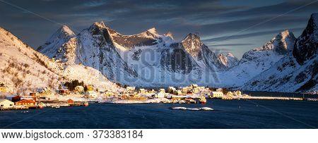 Panorama Of Reinevagen Fjord On Lofoten In Beautiful Sunrise Light, Norway