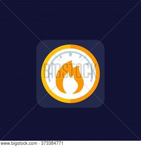 Heat Level Meter Icon, Flat Vector, Eps 10 File, Easy To Edit