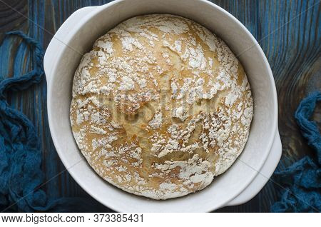 Homemade Bread Cooked In A Cast Iron Pan