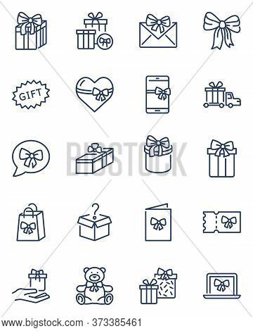 Presents Thin Icons Set. Gift Boxes With Ribbons And Bows, Mobile Phone, Customer Bonus In Store, Gi