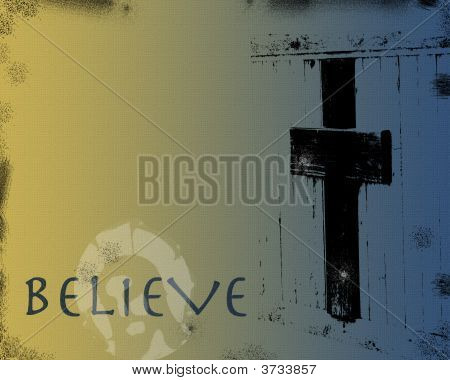 Grunge Cross Background with Word