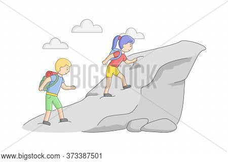 Weekend Hiking And Camping Concept. Couple Of Young Tourists With Backpacks Climb The Mountain. Male