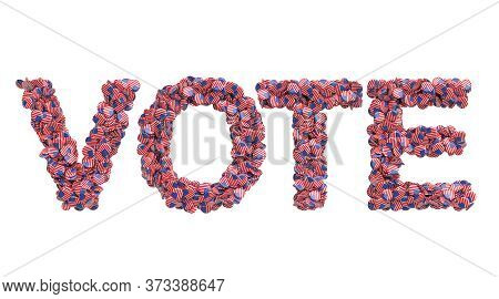 Vote From Badges With American Flag, 3d Rendering Isolated On White Background