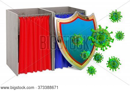 Polling Booths With Shield. Protect From Virus Concept, 3d Rendering Isolated On White Background