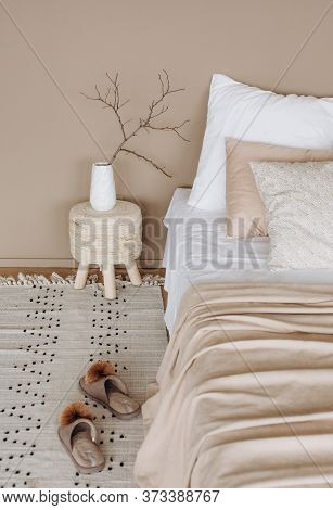Interior Bedroom Bed Slippers Relax Comfortable Apartment