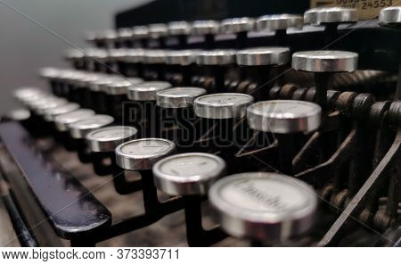 Close Up Of Vintage Typewriter Keys With Selective Focus. Typewriter