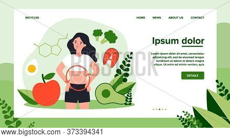 Metabolism Of Human Organism Flat Vector Illustration. Cartoon Young Woman Eating Diet Food For Ener