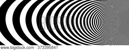 Abstract Op Art Black And White Lines In Hyper 3d Perspective Vector Abstract Background, Artistic I