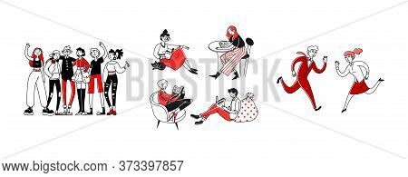 Communication Types Set. Reading Book Or Newspaper, Friends, Business Competitors. Flat Illustration