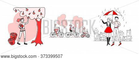 People Enjoying Outdoor Activities Set. Gardening, Riding Bike In Park, Walking Outside. Flat Illust