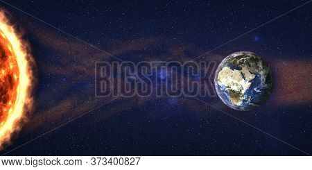 Sun Storm In Outer Space. Sun Radiation Flow To Earth Planet. 3d Render Illustration. Elements Of Th