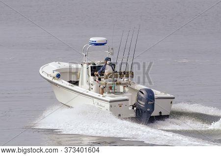 Fairhaven, Massachusetts, Usa - June 25, 2020: Charter Fishing Boat Wahini Making Time Toward Cuttyh